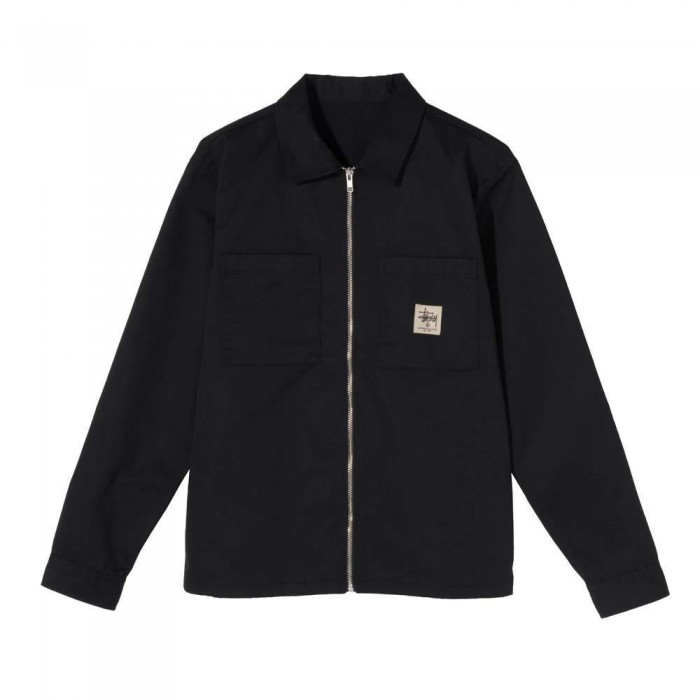 Stussy Zip Up Work Long Sleeved Shirt Black