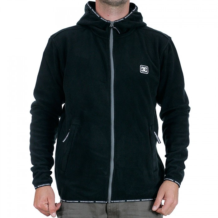 DC Shoes Shepton Full Zip Pullover Fleece Hooded Jacket Black