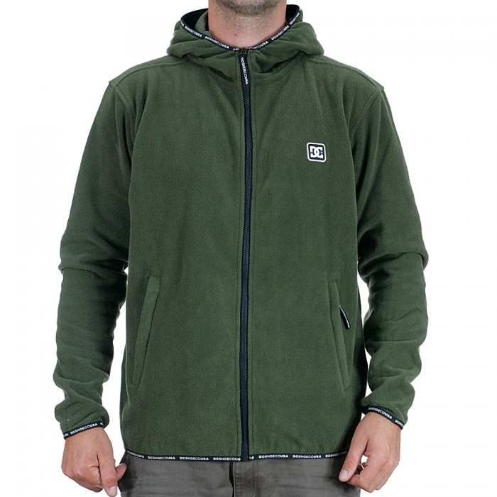 DC Shoes Shepton Full Zip Pullover Fleece Hooded Jacket Fatigue Green