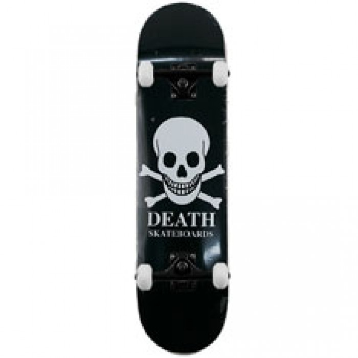 Death Black Skull Complete Skateboard 8""