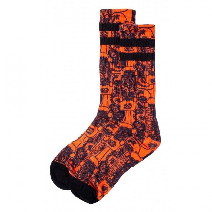 Santa Cruz Socks Kendall Catalog Sock Orange Black Adult