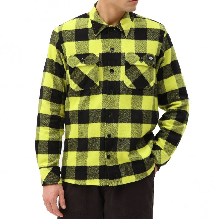 Dickies Sacramento Relaxed Long Sleeved Flannel Shirt Sulphar