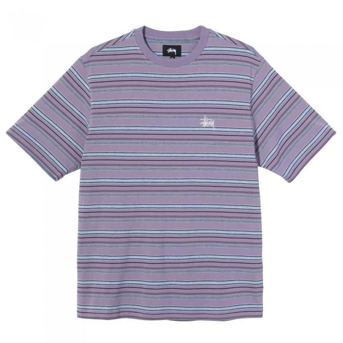 Stussy Heather Stripe Crew Short Sleeve Jersey T-Shirt Lavender