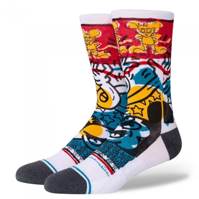 Stance Socks Keith Haring x Disney Primary Haring White Large