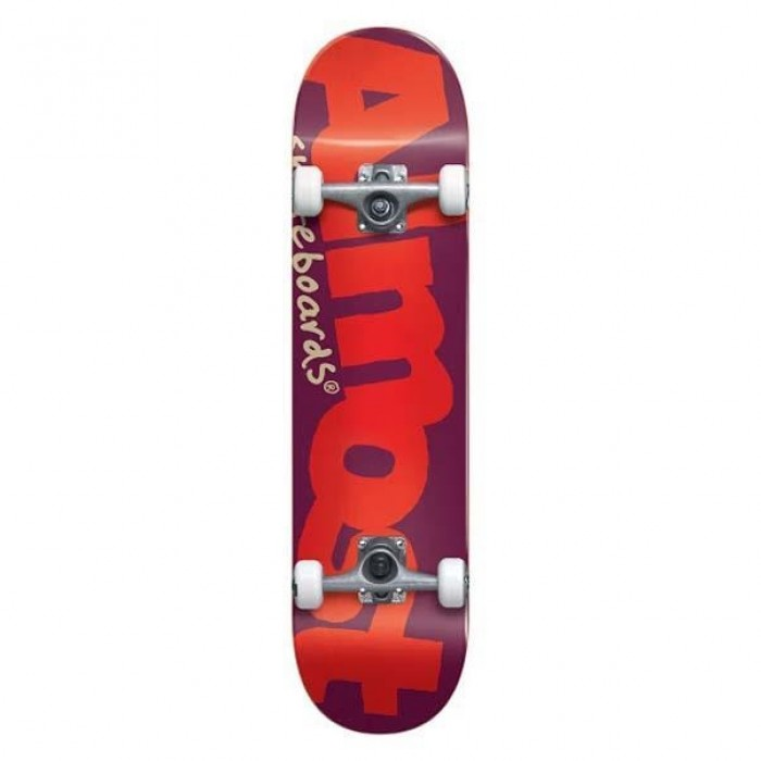 """Almost Bent Logo Youth Factory Complete Skateboard Burgundy 7"""""""