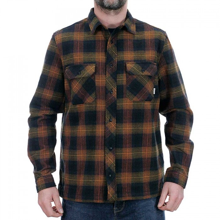 Element Wentworth Shadow Long Sleeve Flannel Shirt Gold Brown