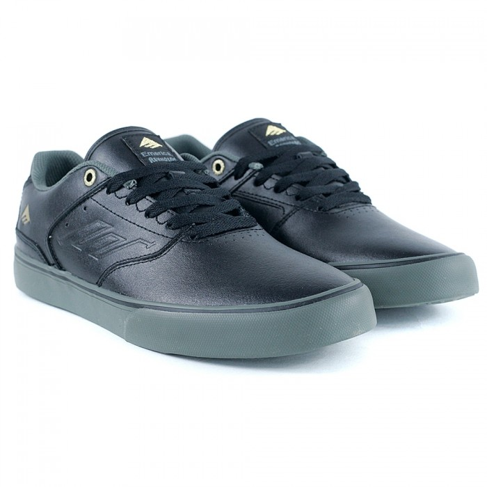 Emerica Footwear The Low Vulc Black Gold Grey Skate Shoes