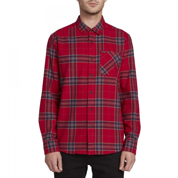 Volcom Caden Plaid Long Sleeved Flannel Shirt Engine Red