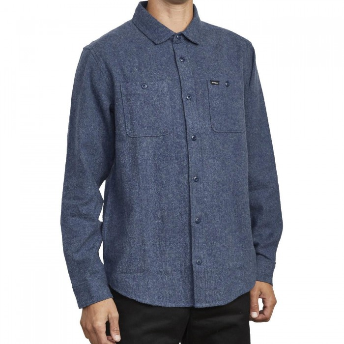 RVCA Harvest Flannel Long Sleeve Shirt Moody Blue