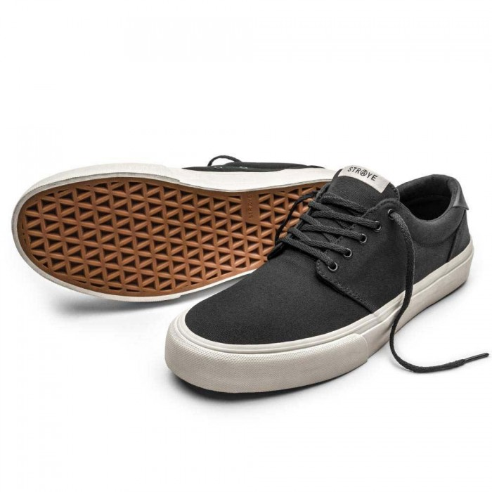 Straye Footwear Fairfax Black Bone Canvas Skate Shoes