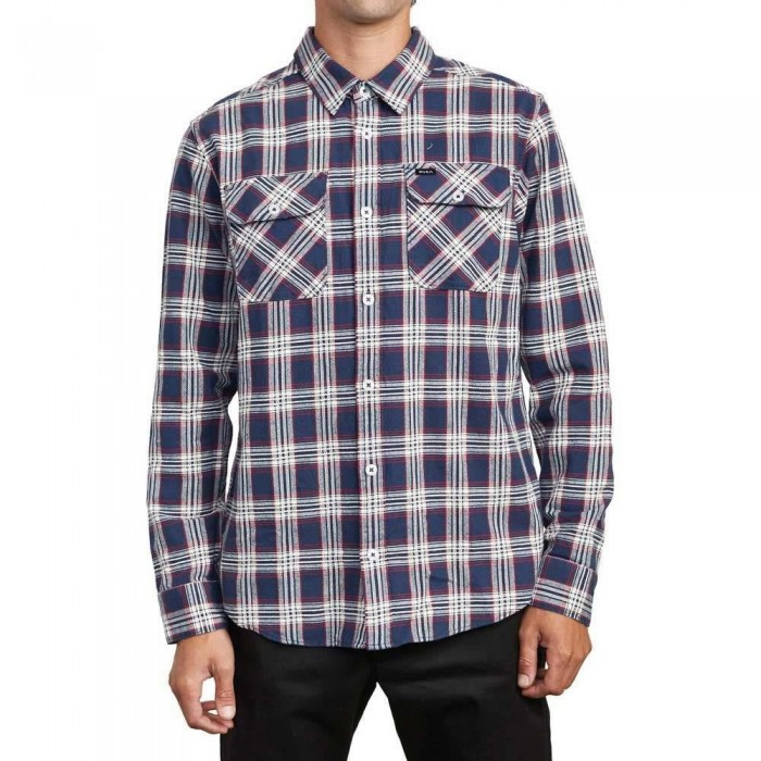 RVCA That'll Work Flannel Shirt Moody Blue