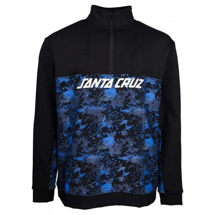 Santa Cruz Astro 1/4 Zip Crewneck Sweatshirt Black Splatter