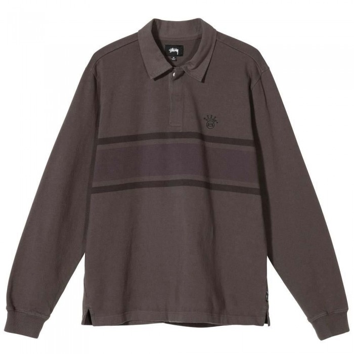 Stussy O'Dyed Stripe Long Sleeved Rugby Shirt Charcoal