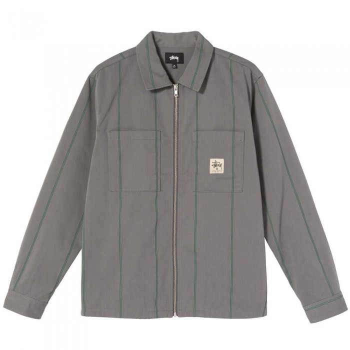 Stussy Full Zip Long Sleeve Work Shirt Grey Stripe