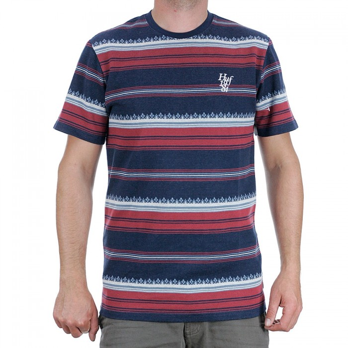 Huf Hana Striped Short Sleeve Knit Top T-Shirt Dark Navy