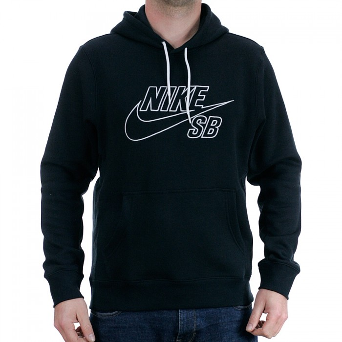 Nike Sb Embroided Icon Pullover Hooded Sweatshirt Black White