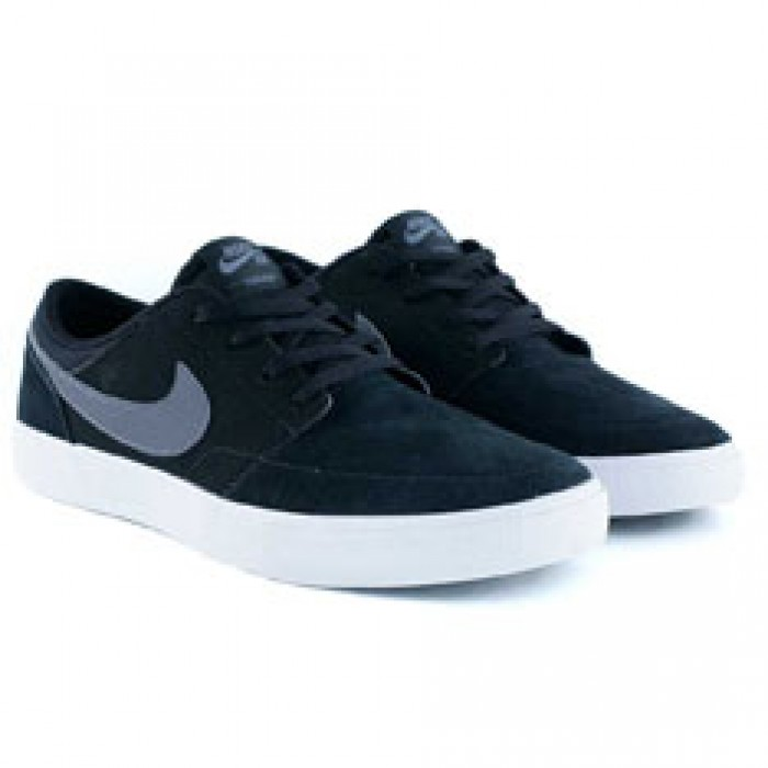 Nike Sb Portmore II Solar Black Dark Grey White Skate Shoes