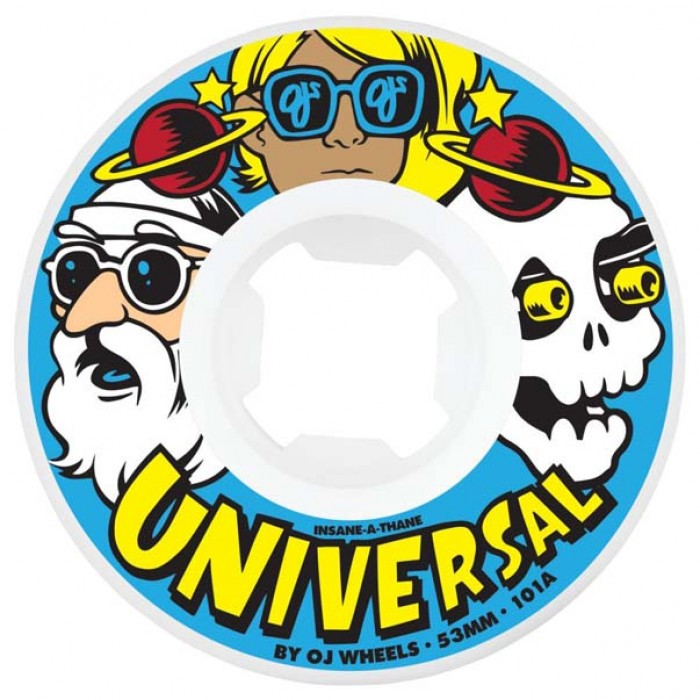 OJ Wheels Universal Insaneathane Skateboard Wheels White 101A 53mm