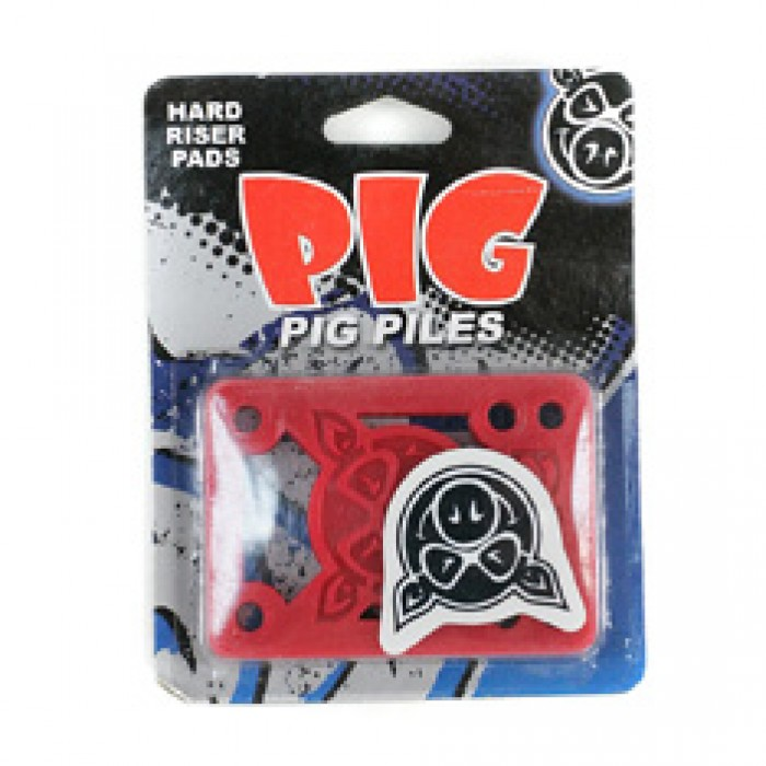 Pig Piles Skateboard Risers Hard Red 1/8""