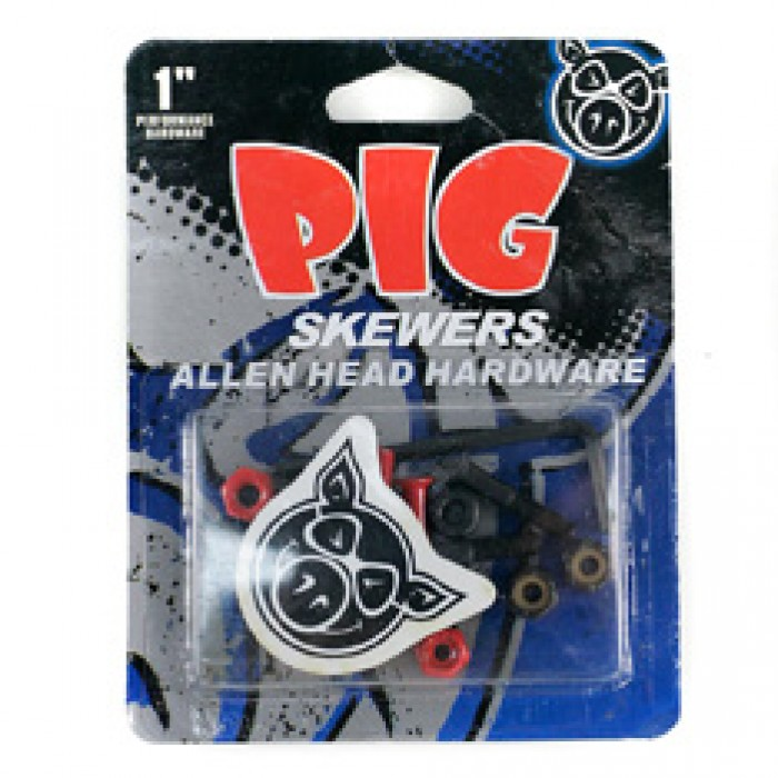 Pig Skewers Skateboard Bolts Allen Key Black Red 1""