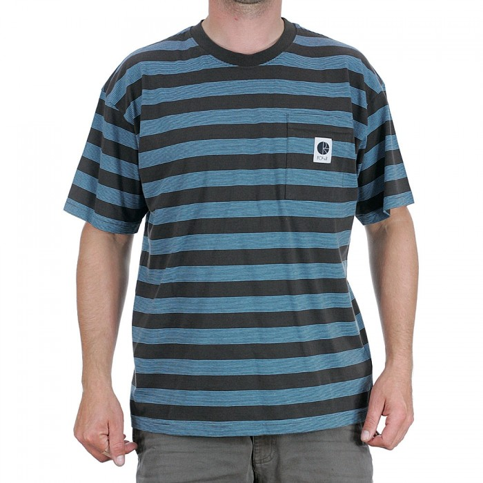 Polar Skate Co Stripe Pocket T-Shirt Brown Blue
