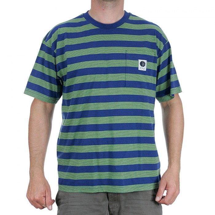Polar Skate Co Stripe Pocket T-Shirt Dark Blue Lime