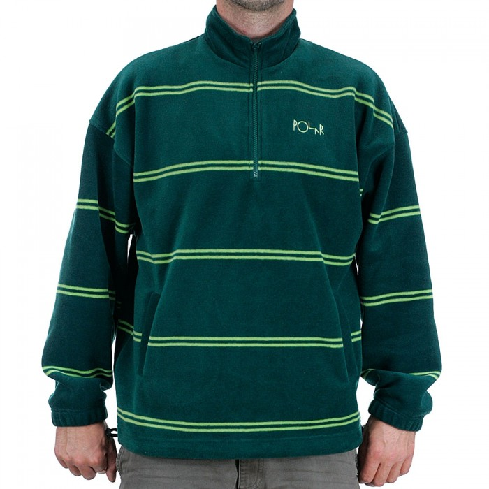 Polar Skate Co Striped Fleece Pullover 2.0 Jacket Dark Green