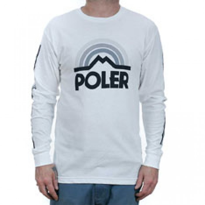 Poler Stuff Mountain Rainbow Long Sleeved T-Shirt White