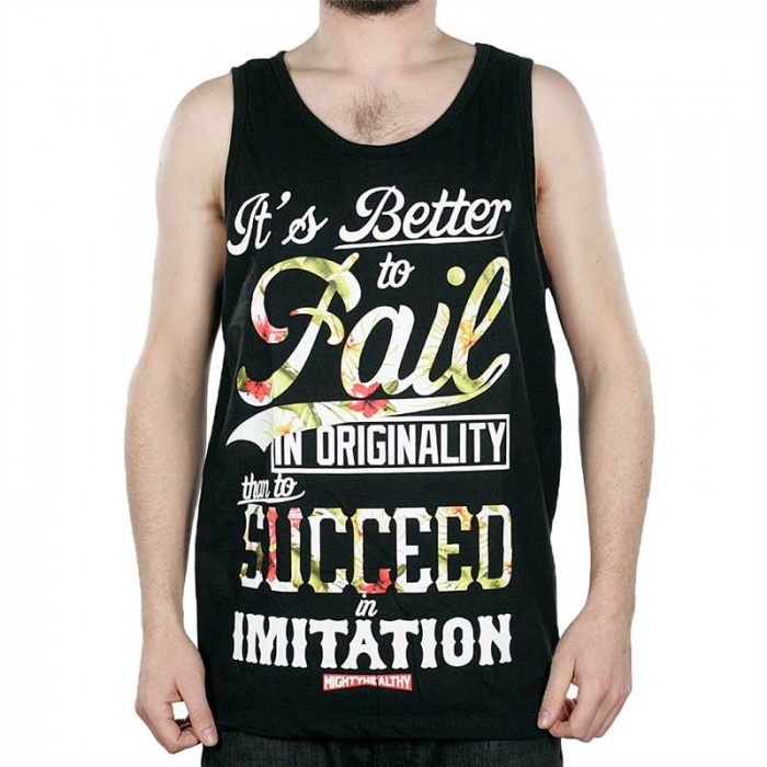 Mighty Healthy Ps Fail Floral Black Tank Top