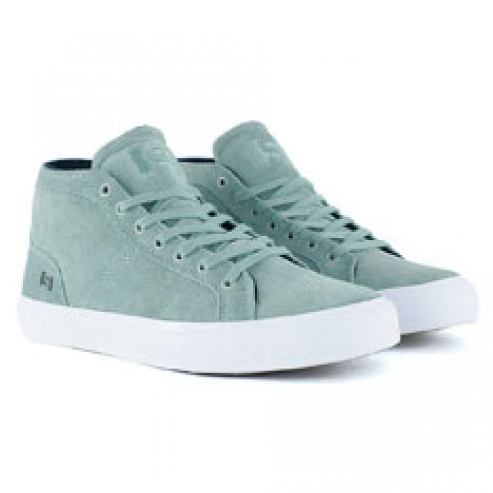 State Footwear Salem Mint White Suede Skate Shoes