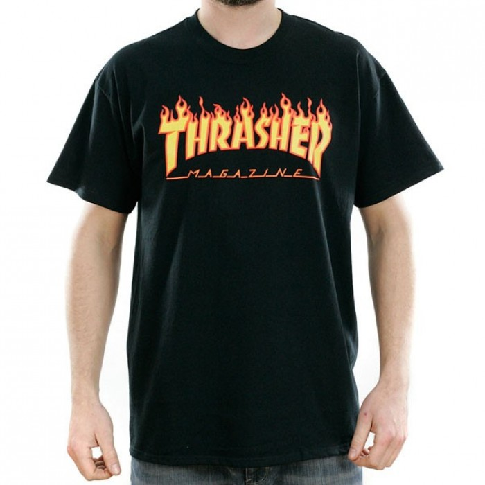 Thrasher Magazine Black Flame Logo T-Shirt