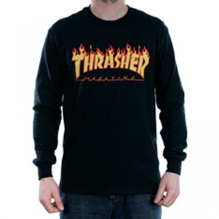 Thrasher Magazine Flame Long Sleeved T-Shirt Black
