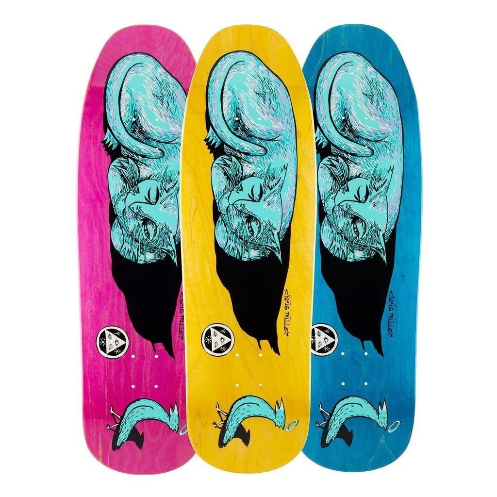 """Welcome Miller Sleeping Cat on Gaia Skateboard Deck 9.6"""" Stains will vary"""