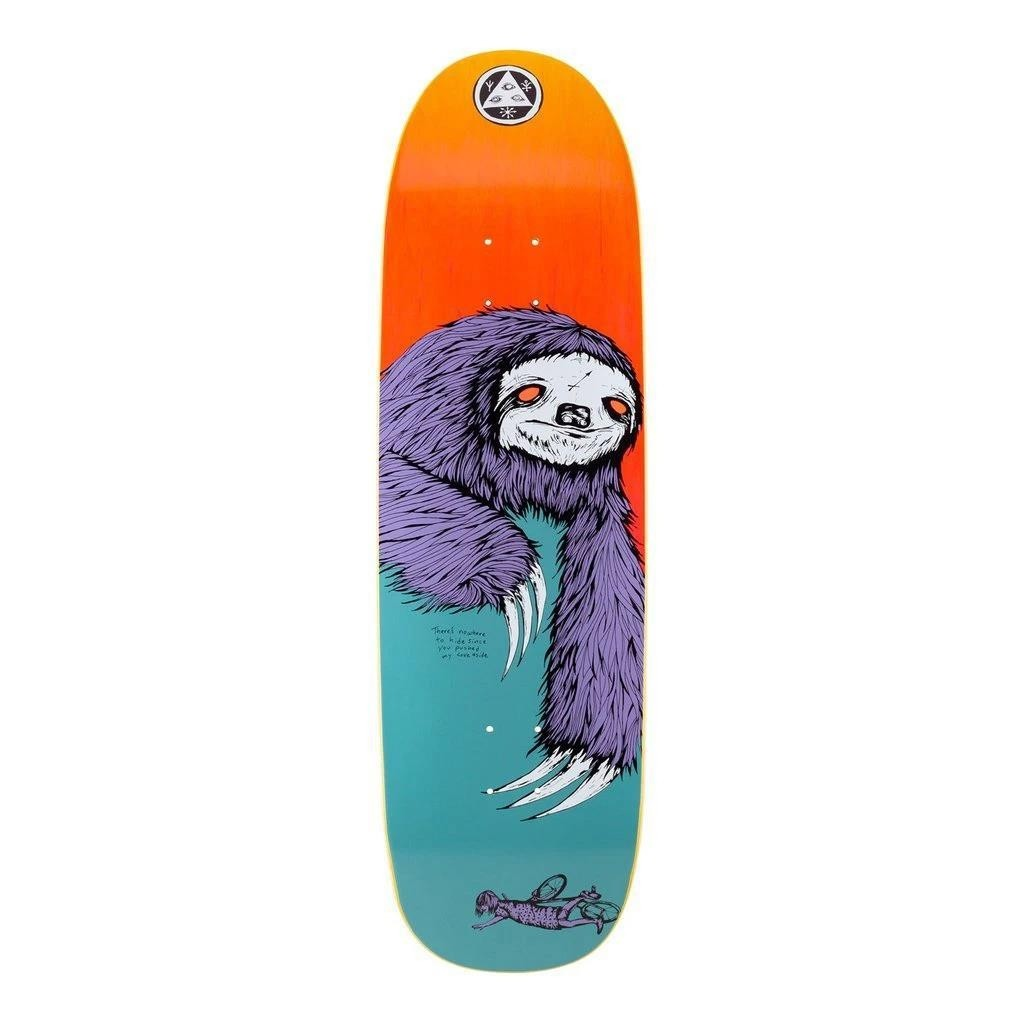 """Welcome Sloth on Boline Teal/Yellow Stain Skateboard deck 9.25"""""""