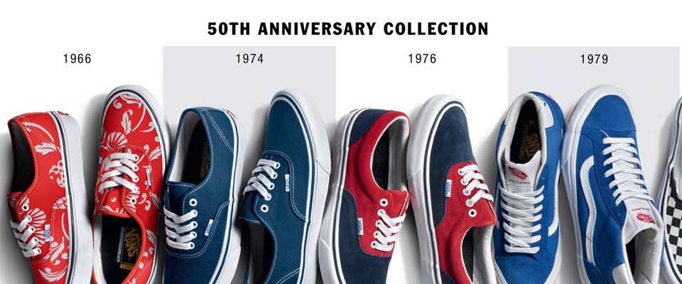 'Vans Shoes 50th Anniversary exclusive range of skate shoes.