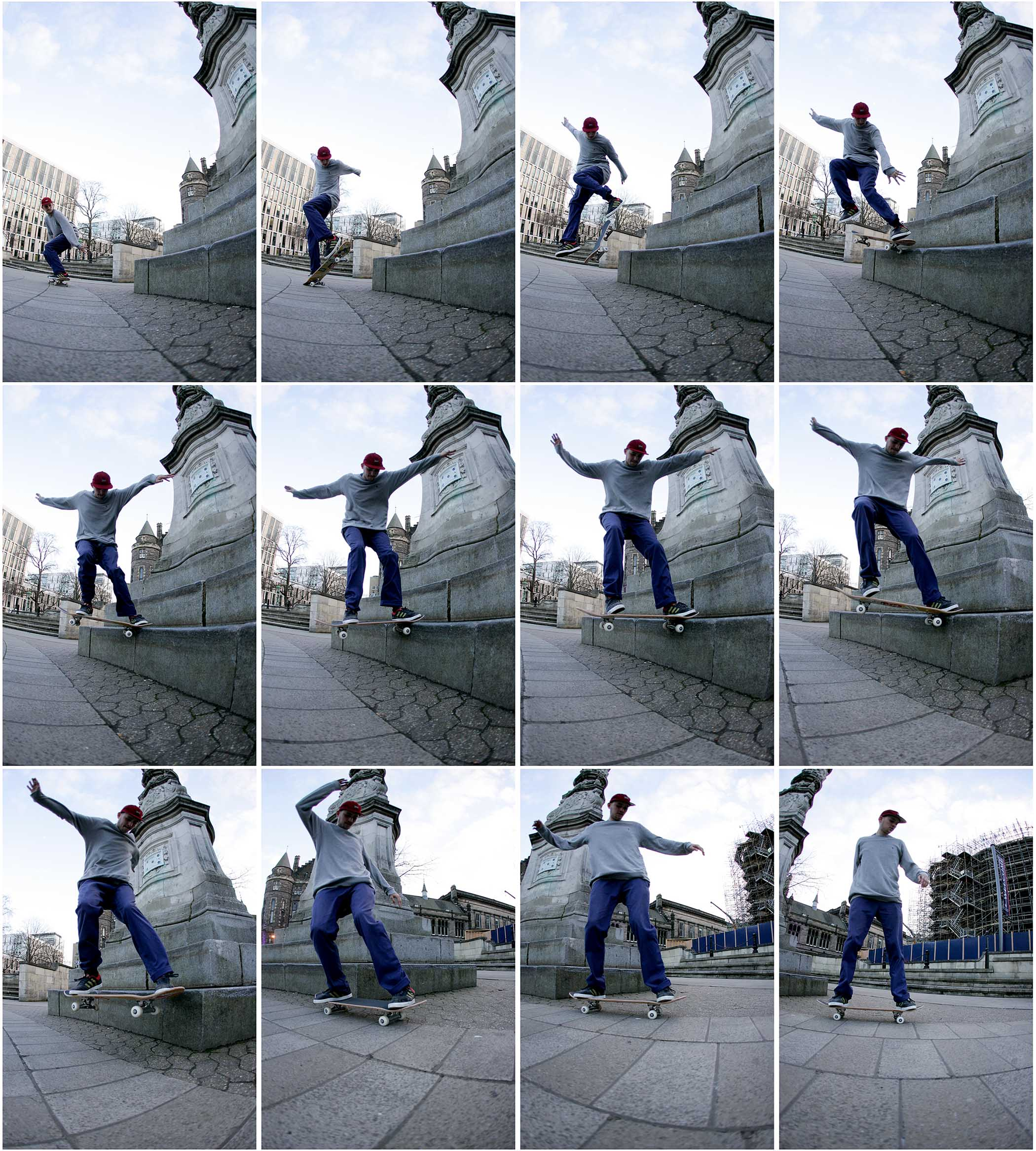 nick stansfield big spin nose slide in Scotland for black sheep skateboard shop